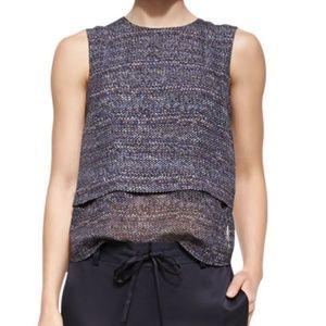 Theory Hodal C Silk Tweed Print Sleeveless Top